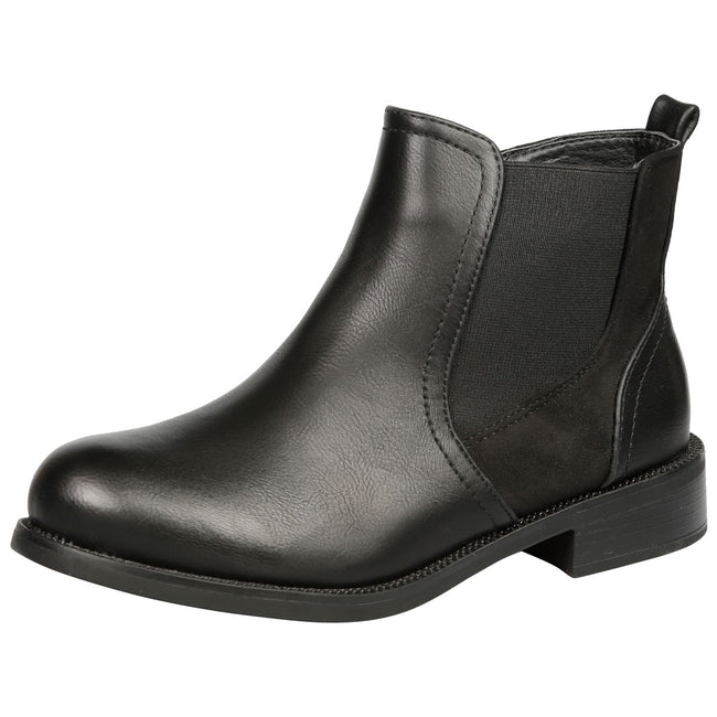 Elora Zip Up Chelsea Ankle Boots in Black Faux Leather