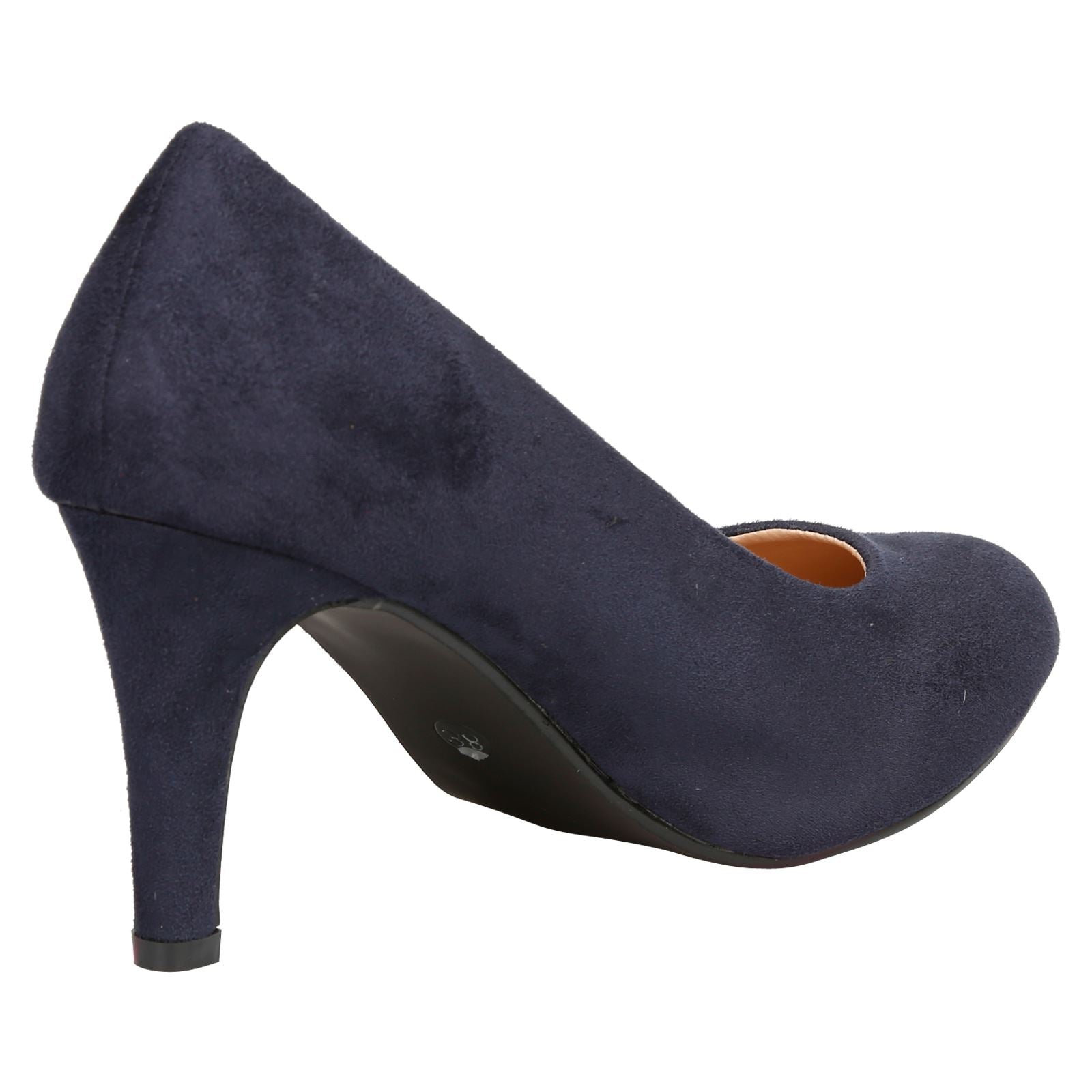 Amiya Slim Heeled Shoes in Dark Blue Faux Suede