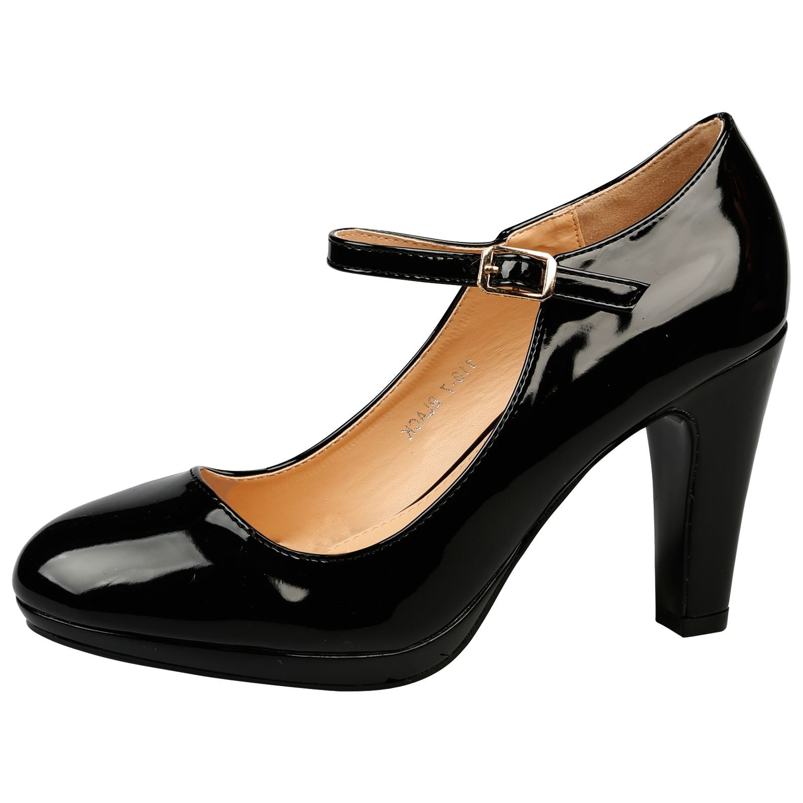 Emmeline Platform Mary Janes in Black Patent