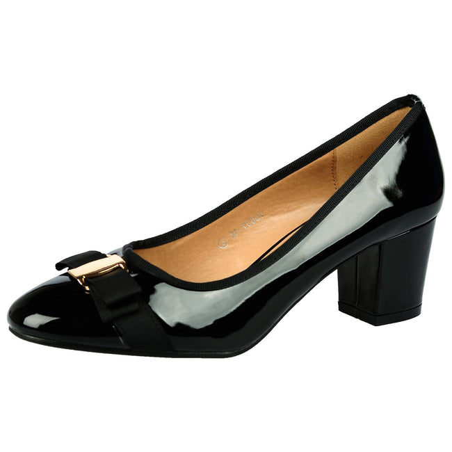 Cherie Bow Detail Low Heel Court Shoes in Black Patent