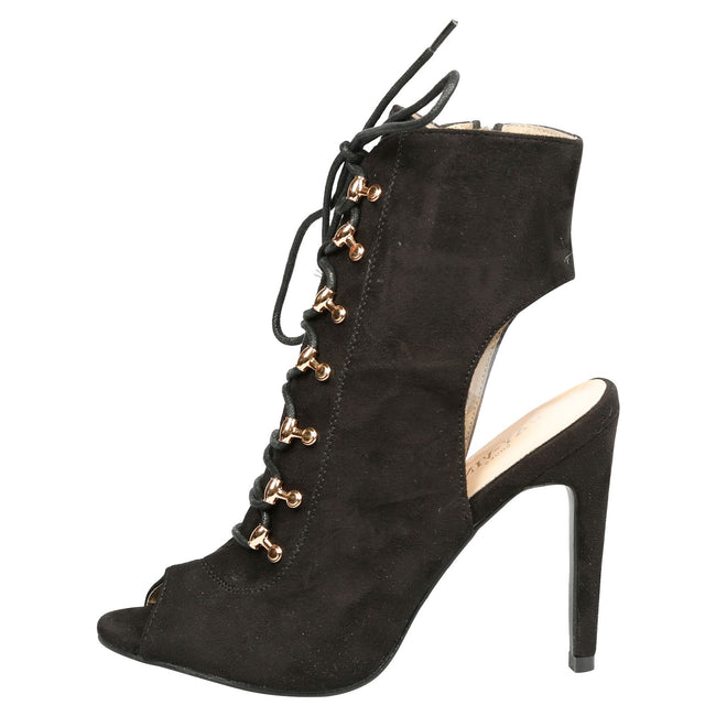 Viviana Lace Up Peep Toe Ankle Boots in Black Faux Suede