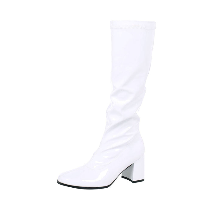 Krista Block Heel Knee High Boots in White Patent