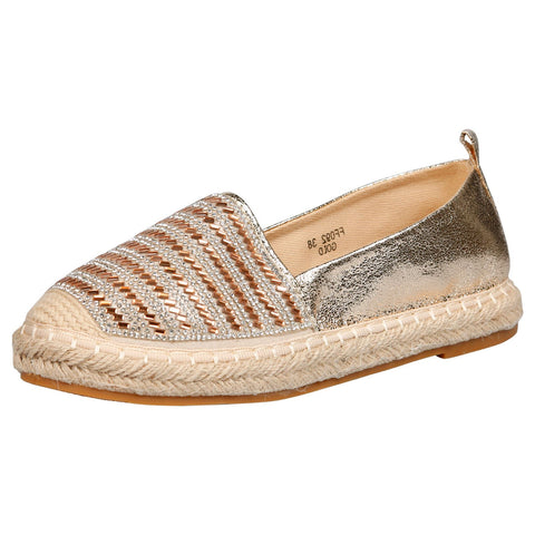 Keeva Diamante Metallic Espadrilles in Black Faux Leather