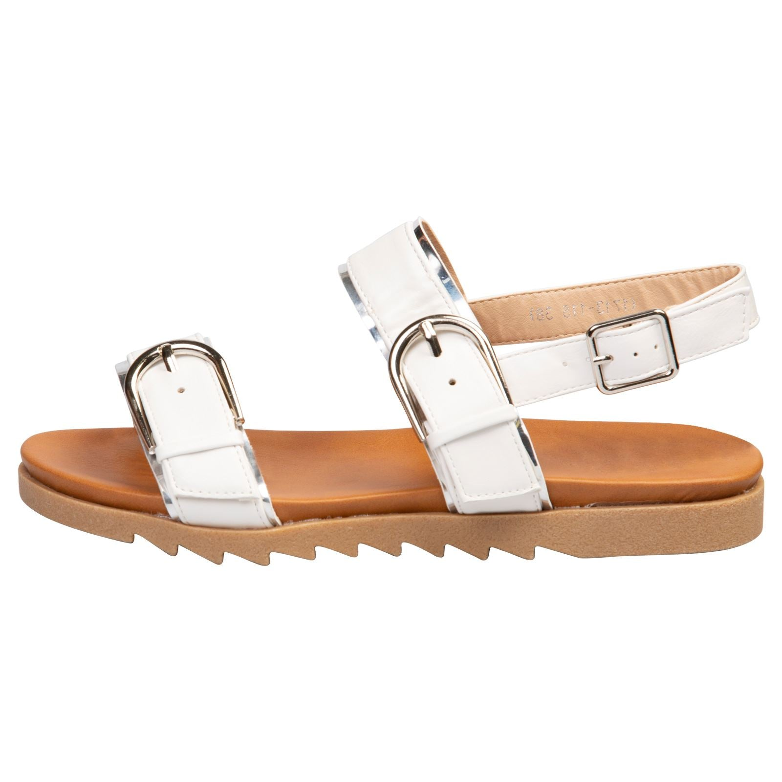 Alice Buckle Detail Sandals in White Faux Leather - Feet First Fashion