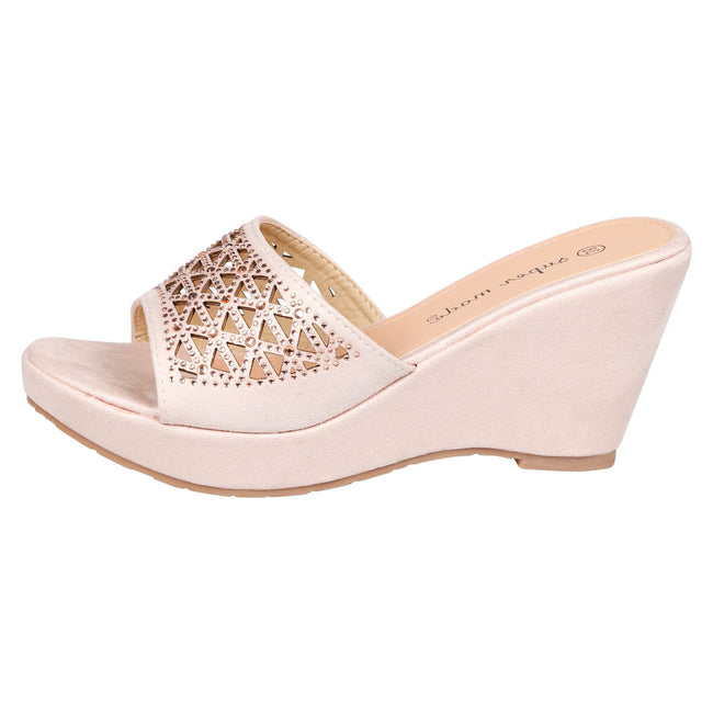 Elisha Wedge Heel Diamante Mules in Rose Gold