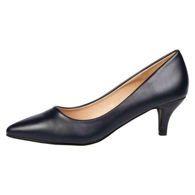 Miranda Kitten Heel Pointed Toe Court Shoes in Navy Faux Leather