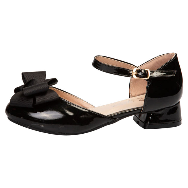Kaelyn Girls Low Heel Shoes in Black Patent - Feet First Fashion