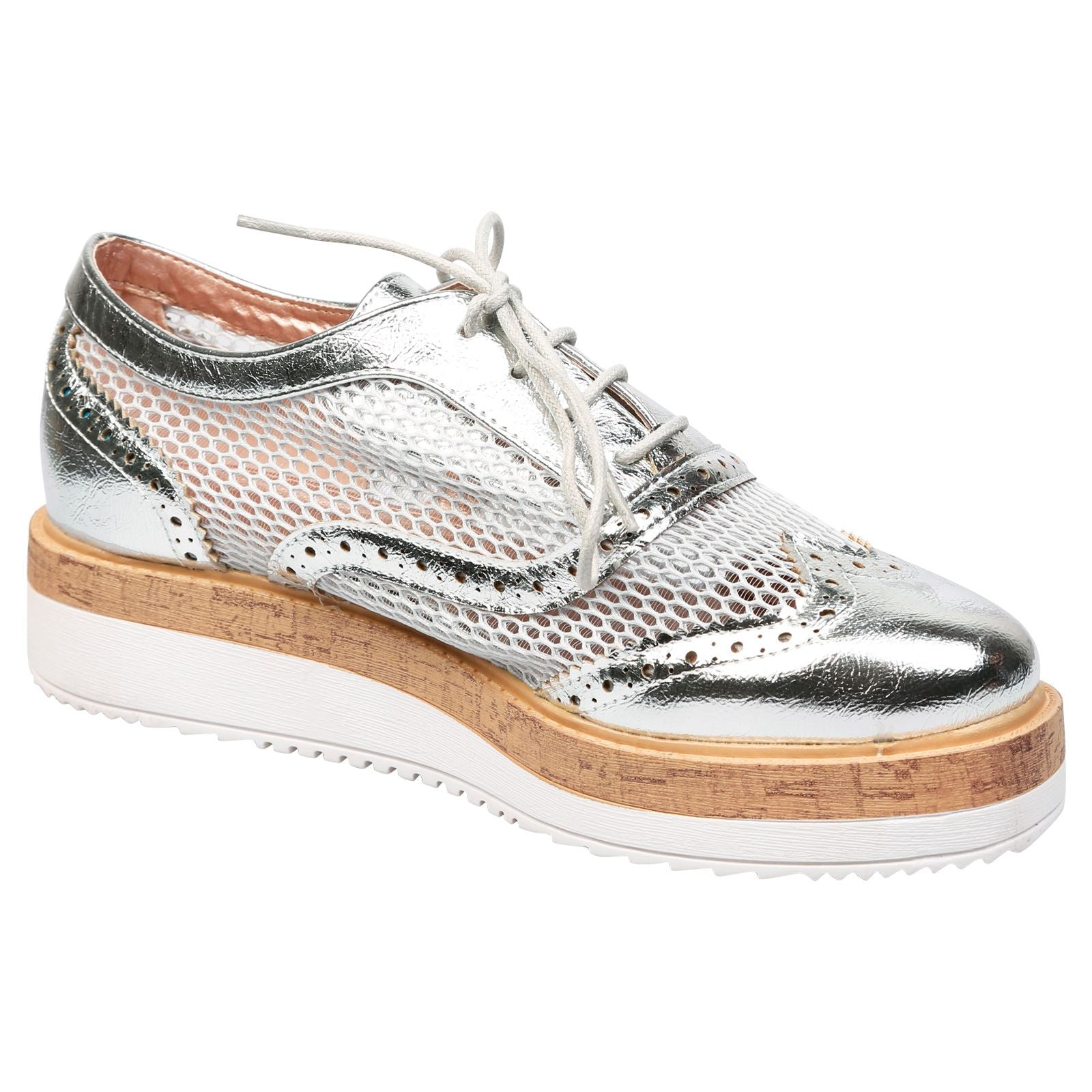 Alana Mesh Side Flatform Brogues in Silver