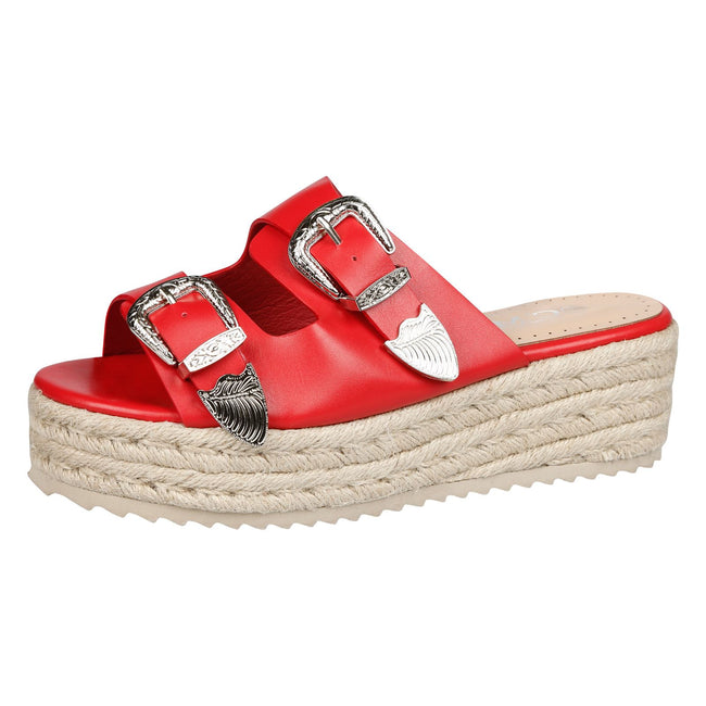 Bernie Buckle Detail Flatform Espadrille Sliders in Red Faux Leather