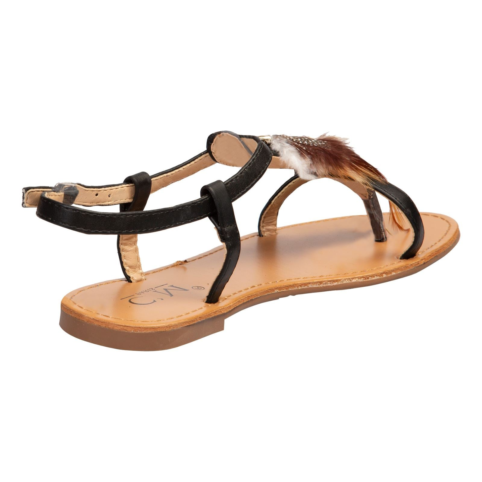 Kinsley Feather Toe Post Sandals in Black Faux Leather - Feet First Fashion