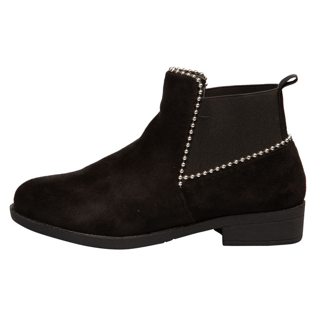 Presley Chelsea Boots in Black Faux Suede