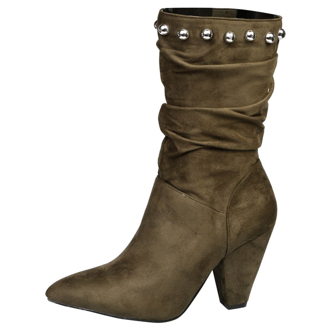 Analia Studded Slouch Boots in Olive Green - Feet First Fashion