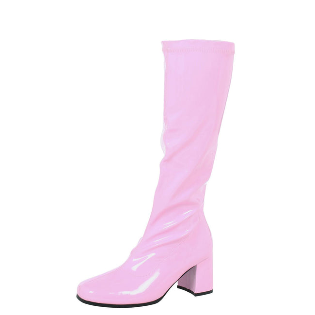 Krista Block Heel Knee High Boots in Baby Pink Patent