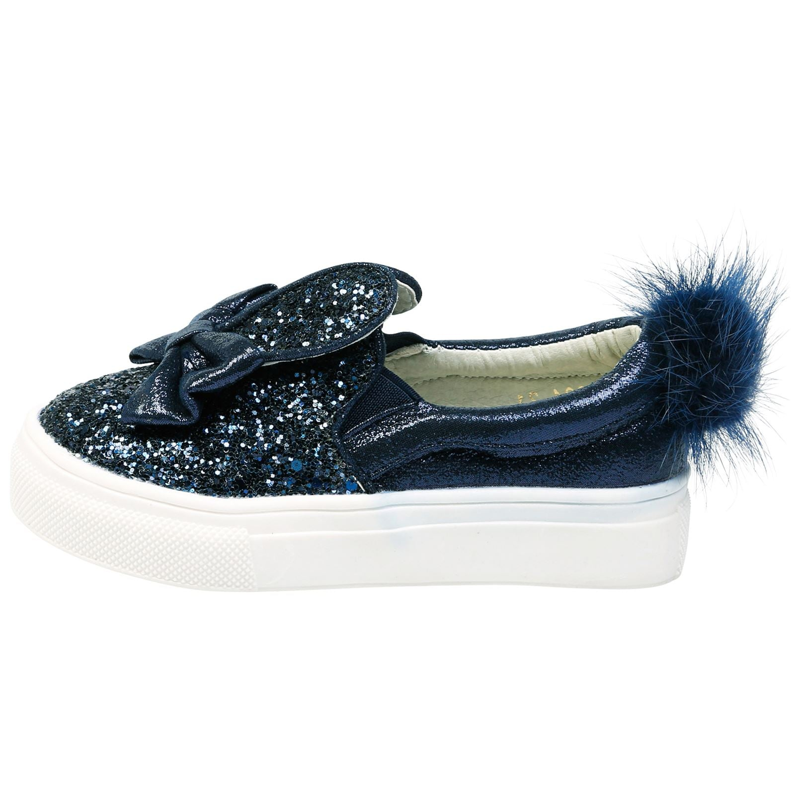 Bunny Girls Glitter Pom Pom Plimsolls in Navy - Feet First Fashion