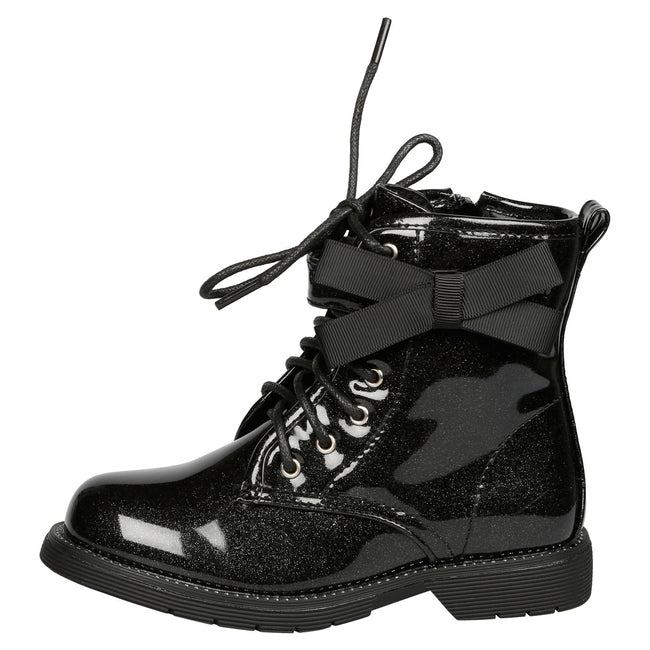 Emmeline Girls Shimmer Ankle Boots in Black Patent