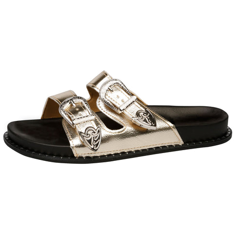 Harmoni Buckle Detail Flat Sandals in White