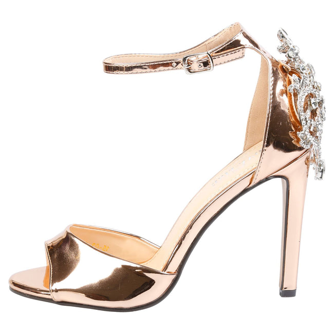 Sheila Diamante Embellished Sandals in Rose Gold