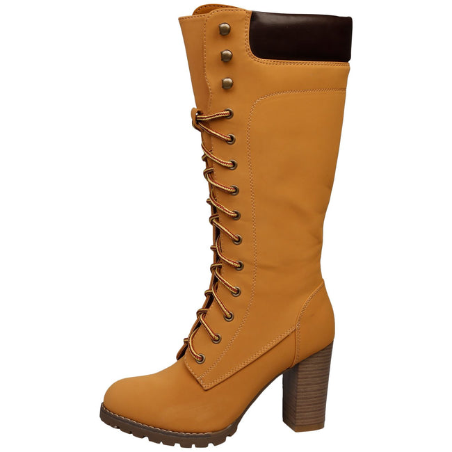 Antonella Lace Up Under Knee Boots in Camel - Feet First Fashion