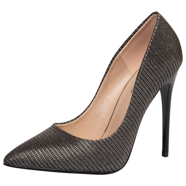 Laverne Pointed Toe Court Shoes in Black Shimmer - Feet First Fashion