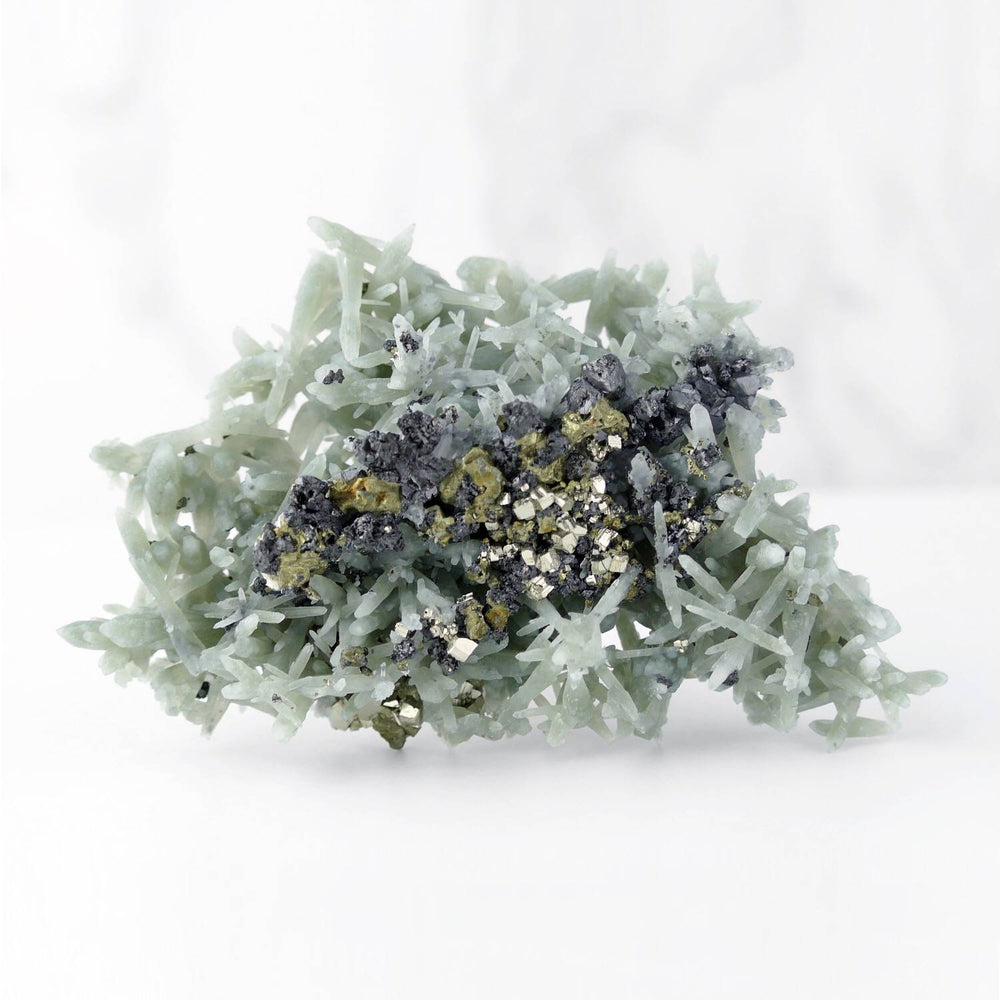 Green Prasem Quartz with Chlorite, Sphalerite