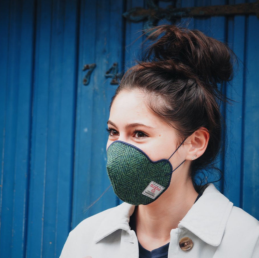 COMING SOON! Harris Tweed® Face Covering (Green and Navy)