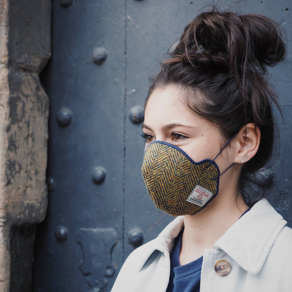 COMING SOON! Harris Tweed® Face Covering (Navy and Barley)