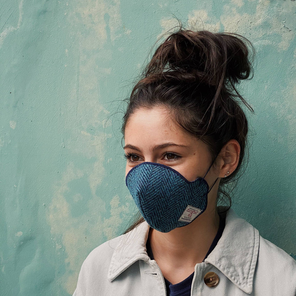 COMING SOON! Harris Tweed® Face Covering (Teal and Navy)
