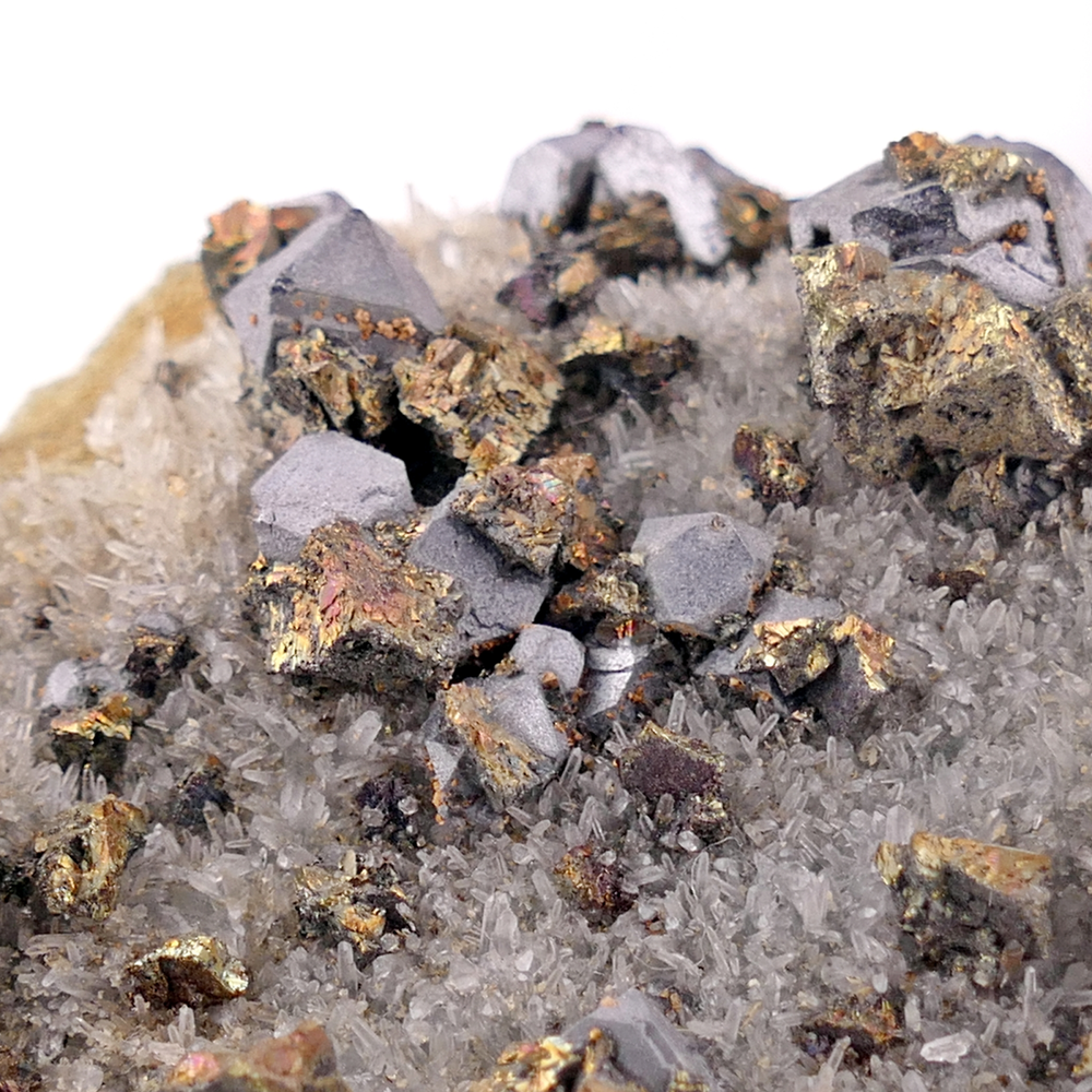 Galena with Chalcopyrite on Quartz with Calcite