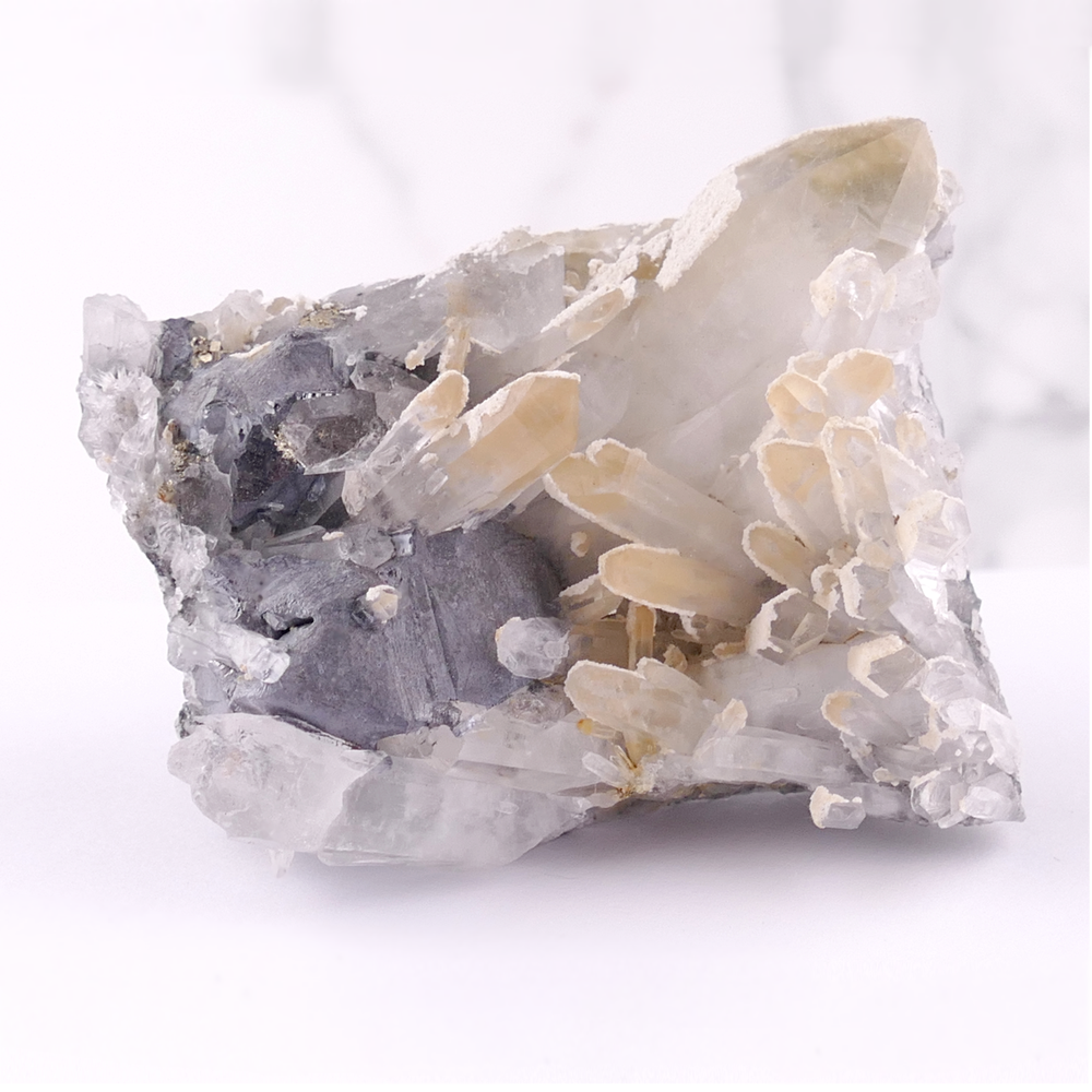 Quartz with Calcite and Galena Inclusions