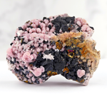 Rhodochrosite with Chalcopyrite, Quartz