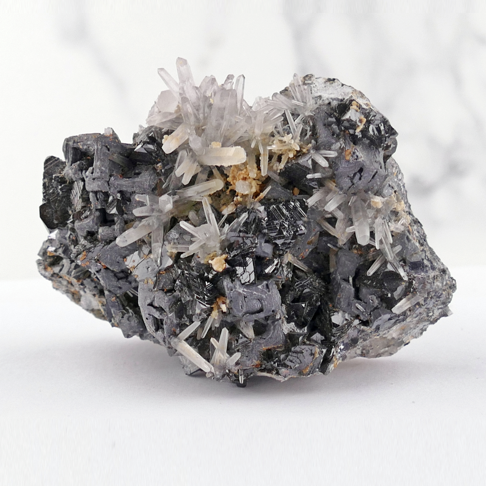 Skeletal Galena with Quartz and Sphalerite