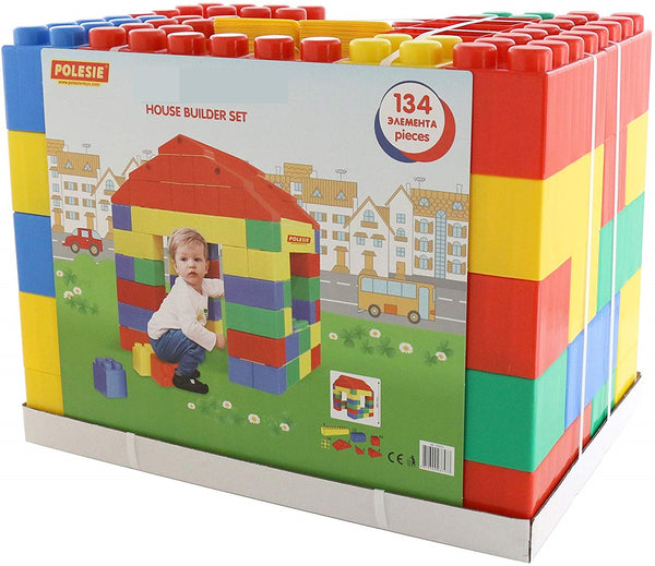Construction Blocks - Pack of 134 Multi-Coloured Assorted Plastic Blocks