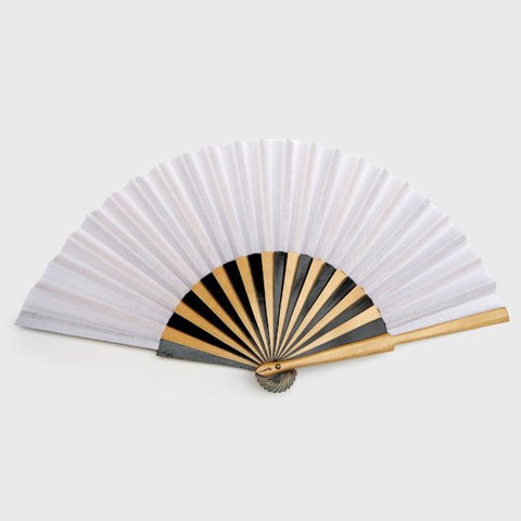 wooden white hand fan