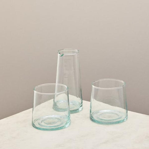 glass whiskey set with two glasses and a jug