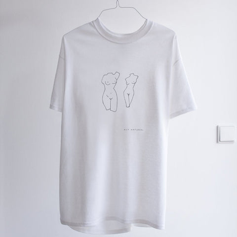 white t-shirt with line drawn nudes