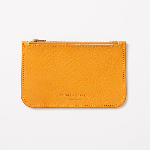 yellow leather zip fastening wallet