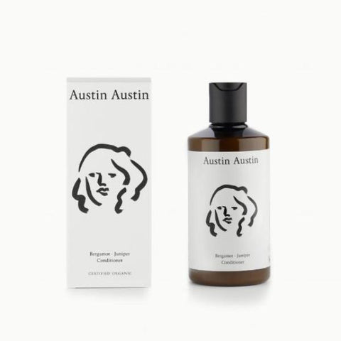 austin austin conditioner brown bottle and white box with line drawing detail