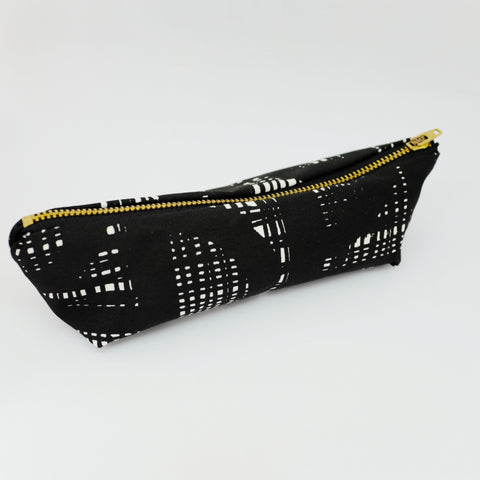 black and white design pencil case with zip