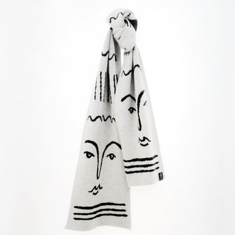 merino scarf with face design