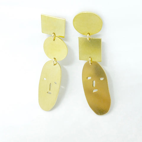 brass stud earrings with dangle face and shapes