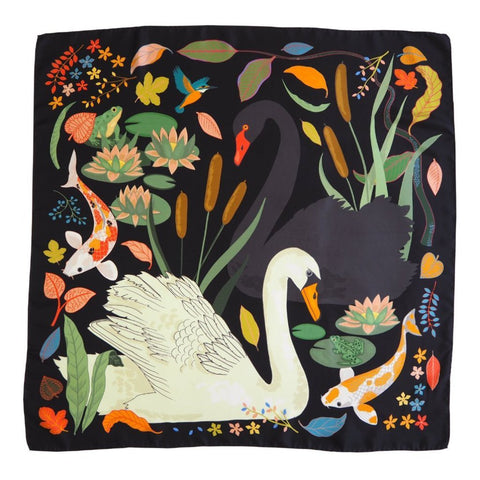 silk scarf with swans and coy carp