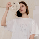 NUDES LINE DRAWING COTTON T-SHIRT