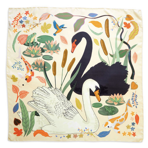 karen mabon swan lake silk scarf cream