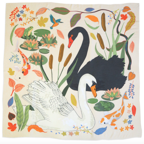cream swan lake cashmere scarf with fish and pond life
