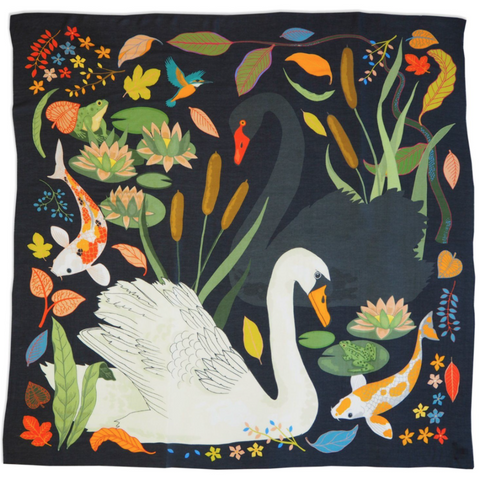 black cashmere swan scarf with fish and pond plants
