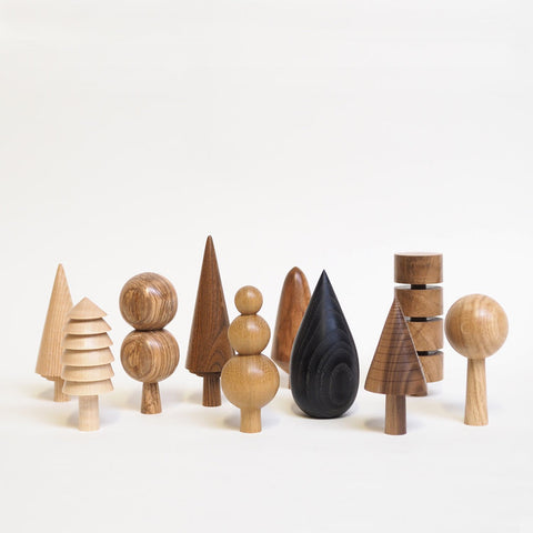 group of wooden tree ornaments