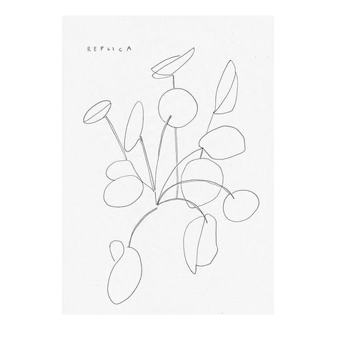 line drawn print of a pilea plant