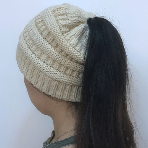 Women Ponytail Winter Knitted Cap
