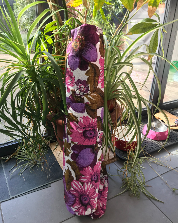Purple floral yoga mat bag
