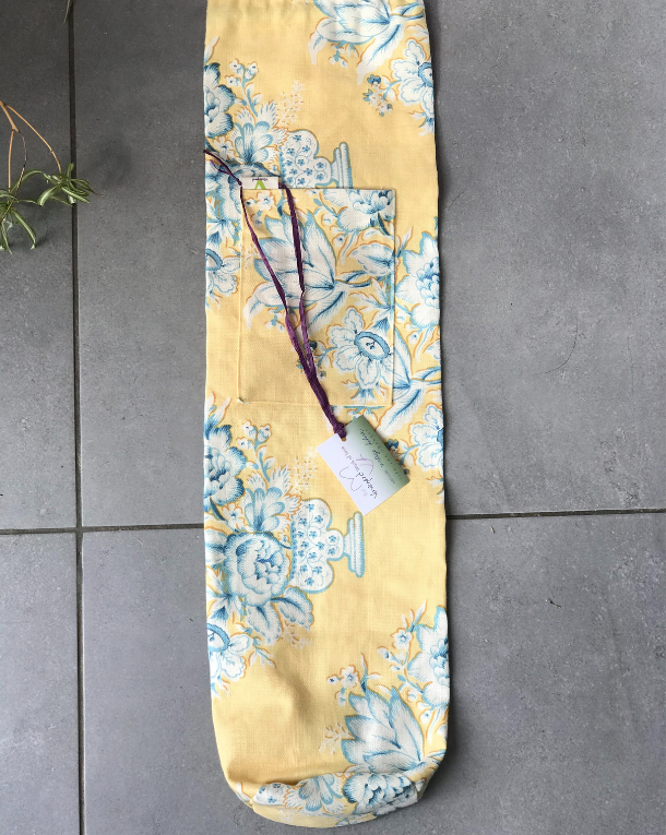 Nostalgic Yellow Yoga mat bag flat lie